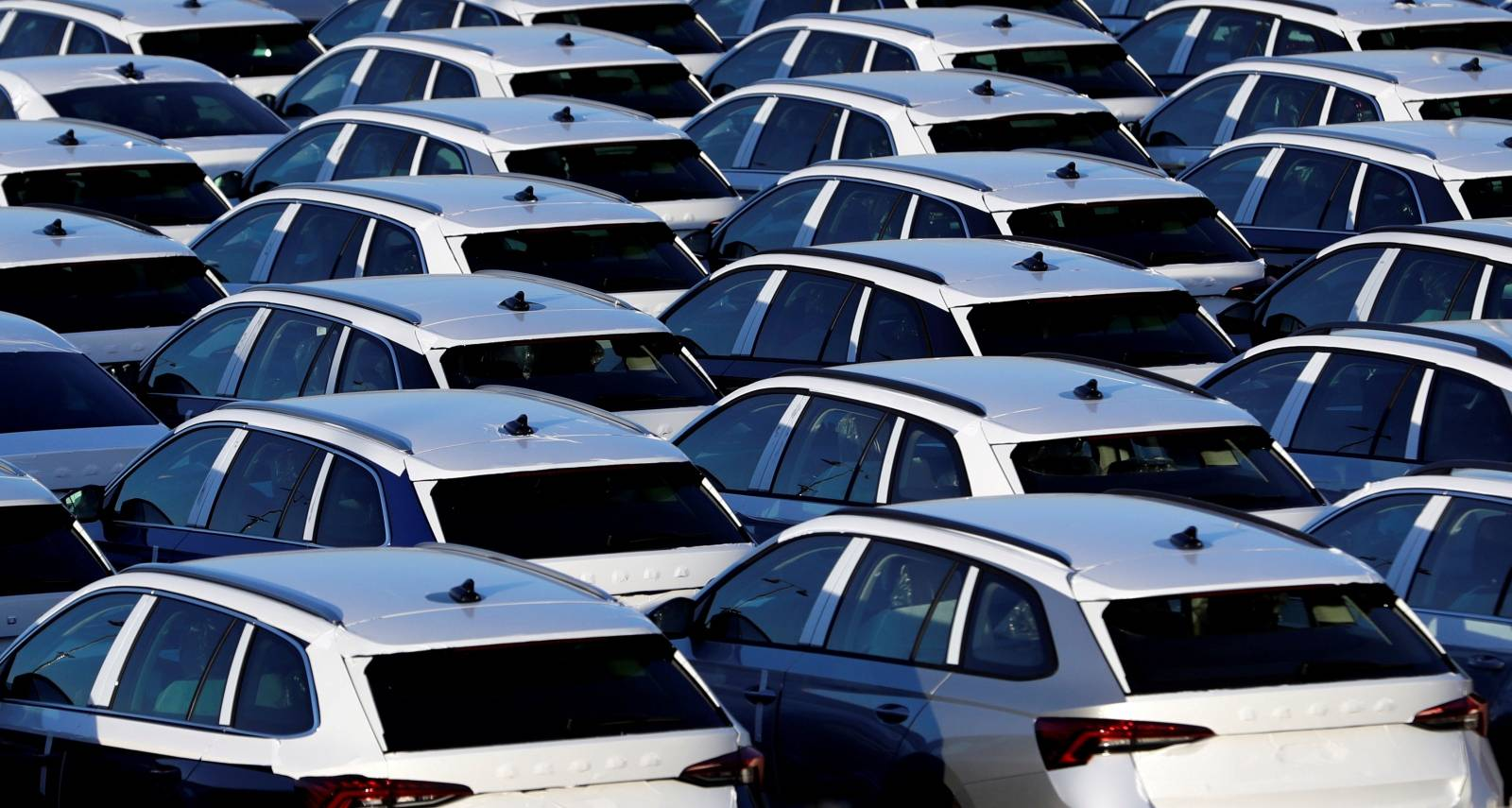 FILE PHOTO: Cars are parked in the courtyard of Skoda Auto in Mlada Boleslav