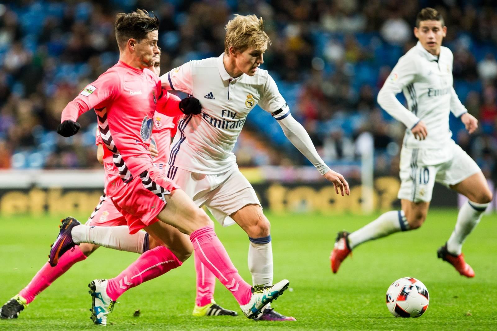 """Match  of """"Copa del Rey"""" between Real Madrid and Cultural Leonesa at Santiago Bernabeu Stadium"""
