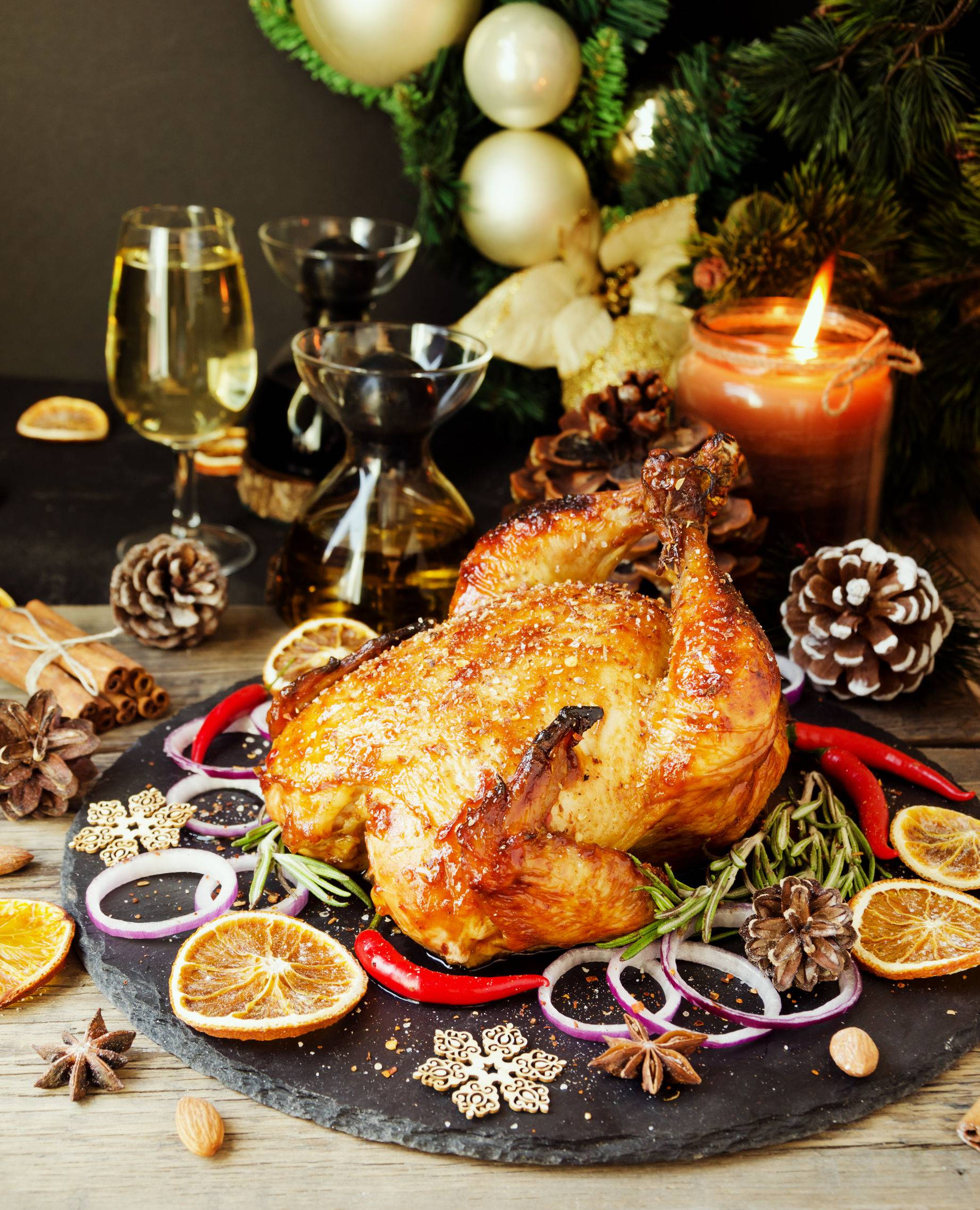 Baked turkey or chiken or Christmas or New Year Thanksgiving Day