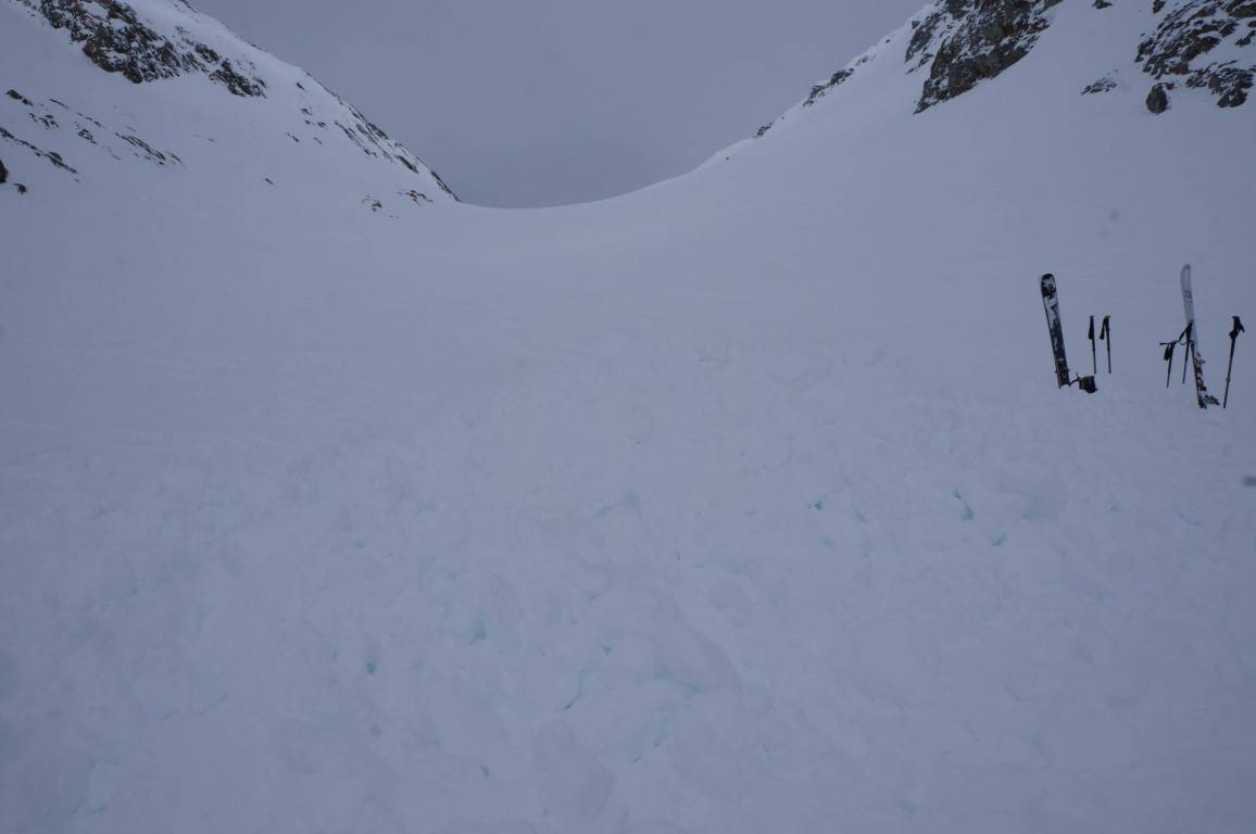 The avalanche site in Bernese Alps, where German skiers died, is pictured in Fieschertal