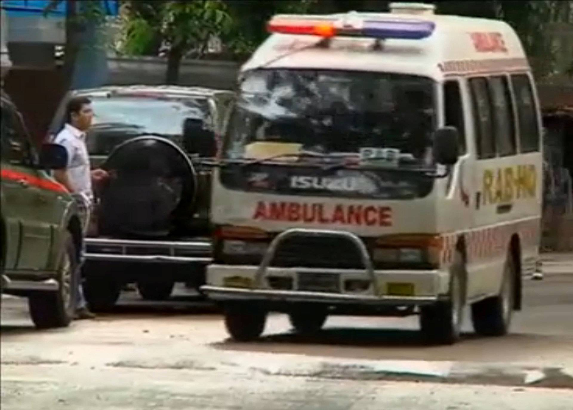 Still frame taken from video shows an ambulance after police stormed the Holey Artisan restaurant to rescue hostages, after gunmen attacked it and took hostages early on Saturday, in Dhaka