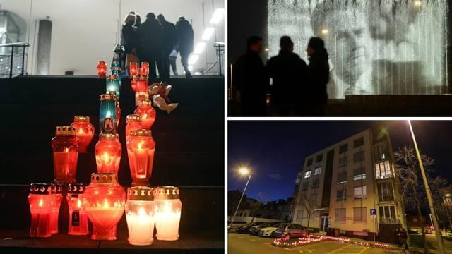 Fontane svijetle u čast Milana Bandića, ljudi ostavljaju svijeće