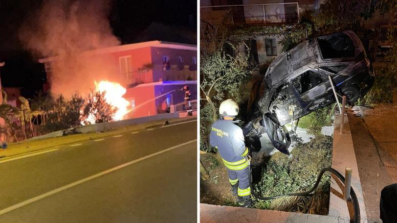 Nevjerojatno:  Auto sletio s ceste i zapalio se, vozač je pukom srećom prošao bez težih ozljeda