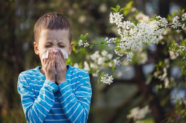 Child having allergy. Boy sitting outdoor with tissue in park ne