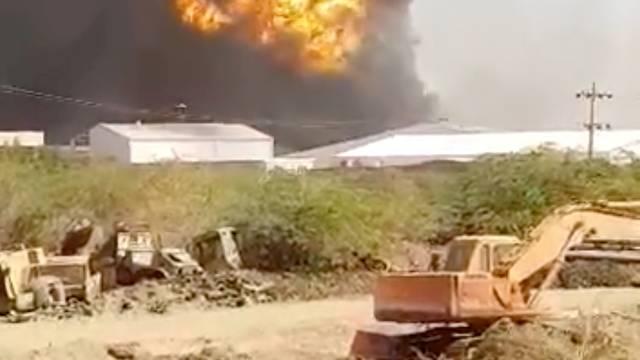 Smoke rises following ceramics factory explosion in Khartoum