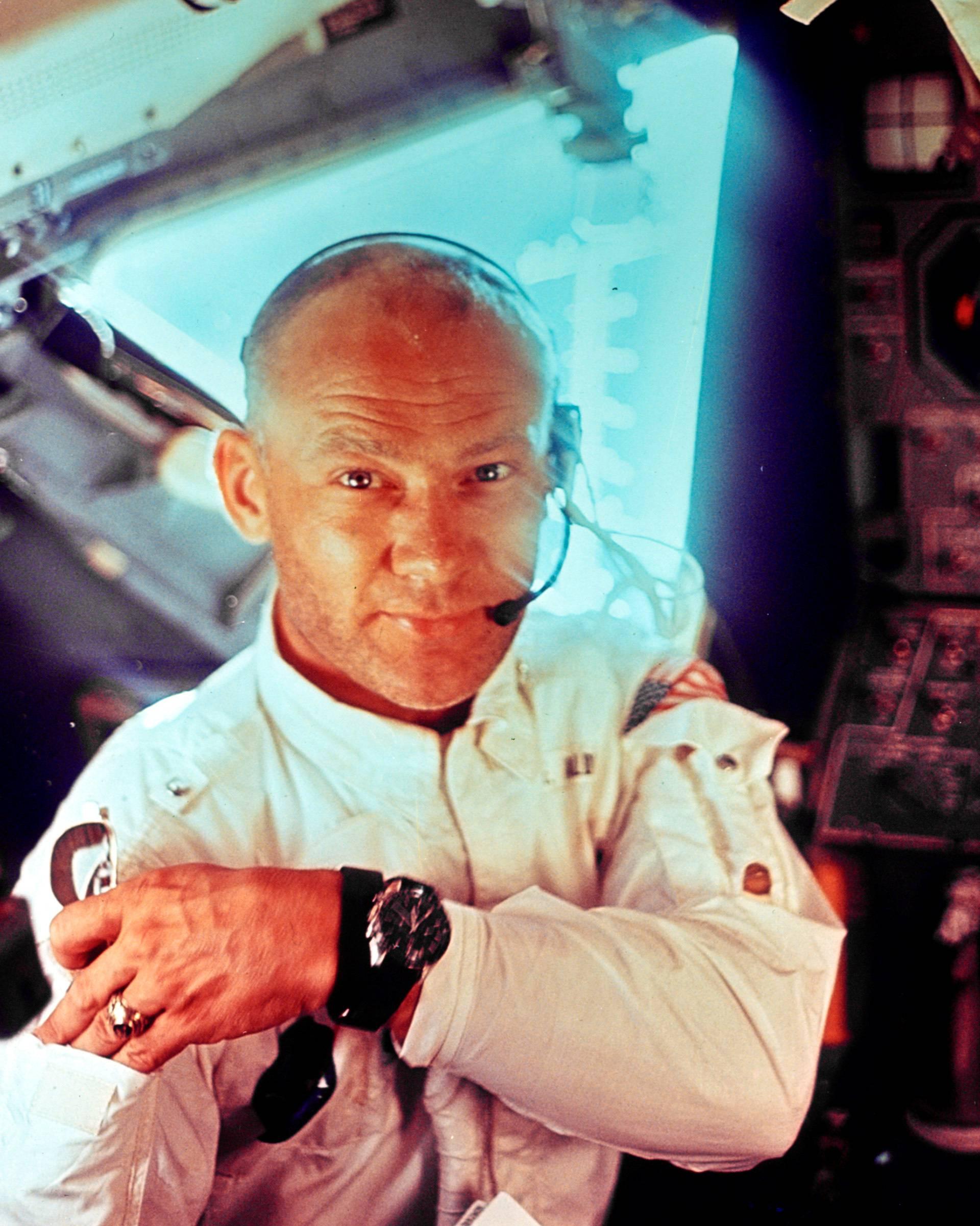 "FILE PHOTO: NASA file image shows U.S. astronaut Edwin ""Buzz"" Aldrin on Apollo 11 lunar module"