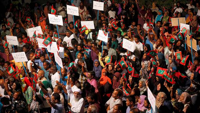 Opposition supporters protest against the government's delay in releasing their jailed leaders in Male, Maldives