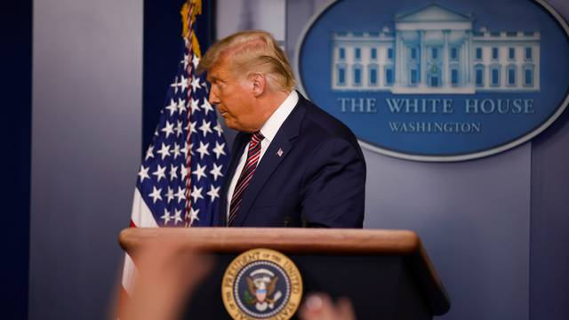 U.S. President Trump speaks to reporters about the 2020 presidential election at the White House in Washington