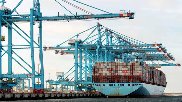 FILE PHOTO: A container terminal is seen at the port of Rotterdam