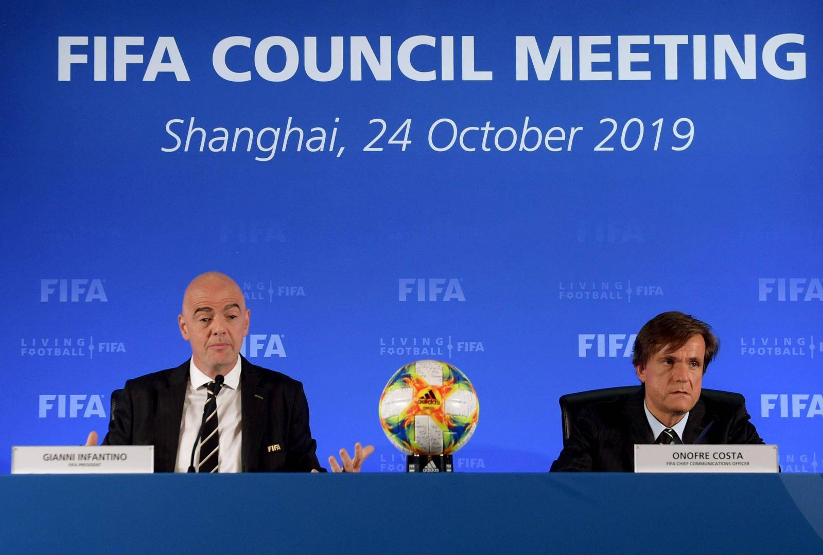FIFA President Gianni Infantino and Chief Communications Officer Onofre Costa attend the association's council meeting in Shanghai