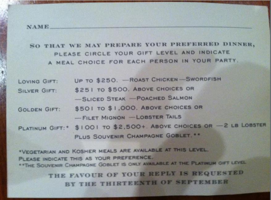 Bizarne pozivnice za vjenčanje: Ako se 'isprsite' na poklonu jest ćete jastoga, a ako ne - piletinu