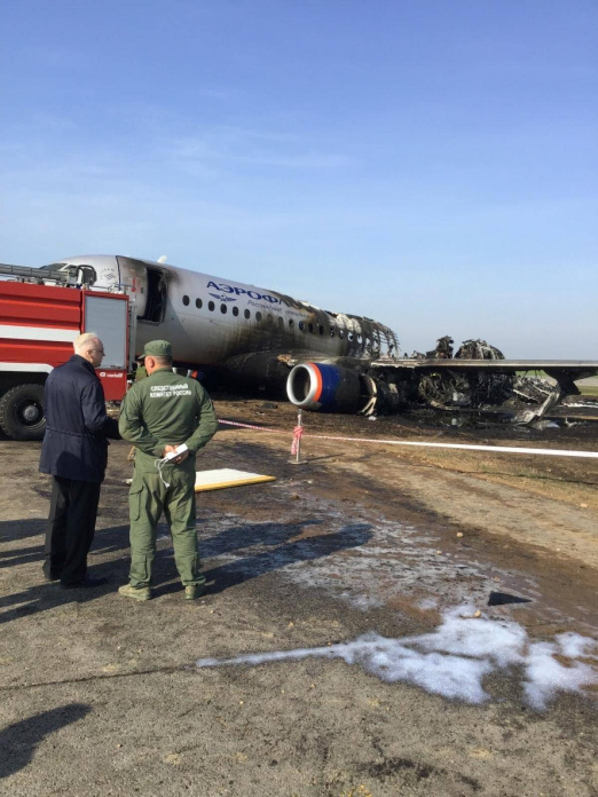 Chairman of Russia's Investigative Committee Bastrykin visits the scene of an incident involving an Aeroflot Sukhoi Superjet 100 passenger plane at Moscow's Sheremetyevo airport