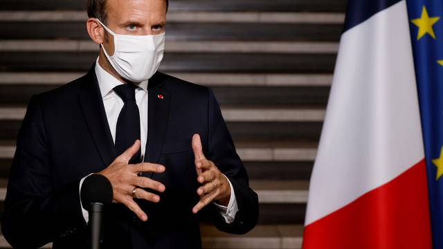 FILE PHOTO: French President Macron delivers speech in Bobigny