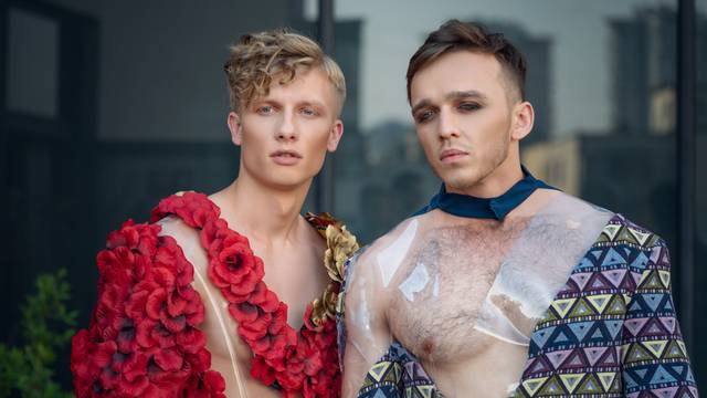 Two male models. androgynous feminine men looking as woman