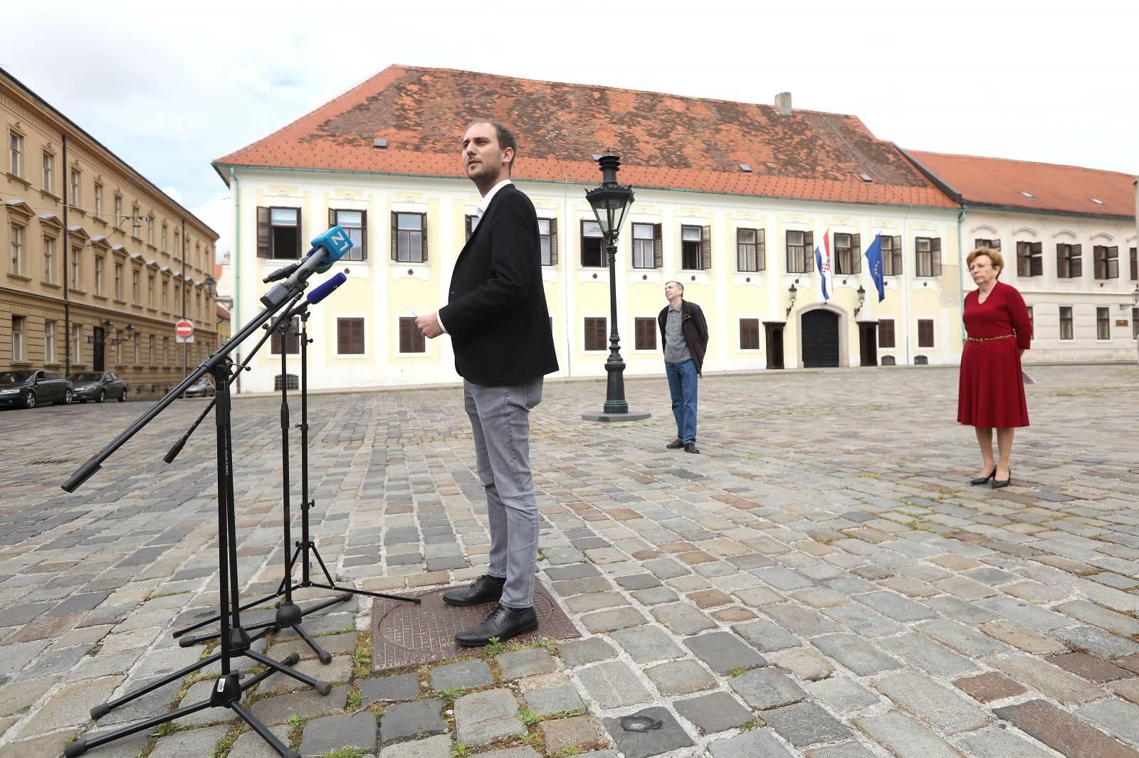 Zagreb: Konferencija za medije Kluba gradskih zastupnika SDP-a na Markovom trgu