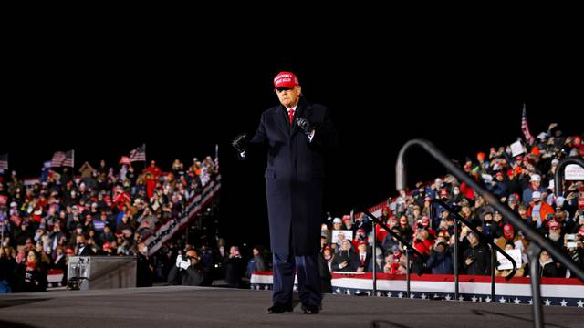 U.S. President Donald Trump holds a campaign rally at Gerald R. Ford International Airport in Grand Rapids, Michigan