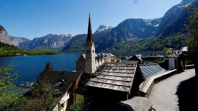 FILE PHOTO: An empty road is seen in the city of Hallstatt