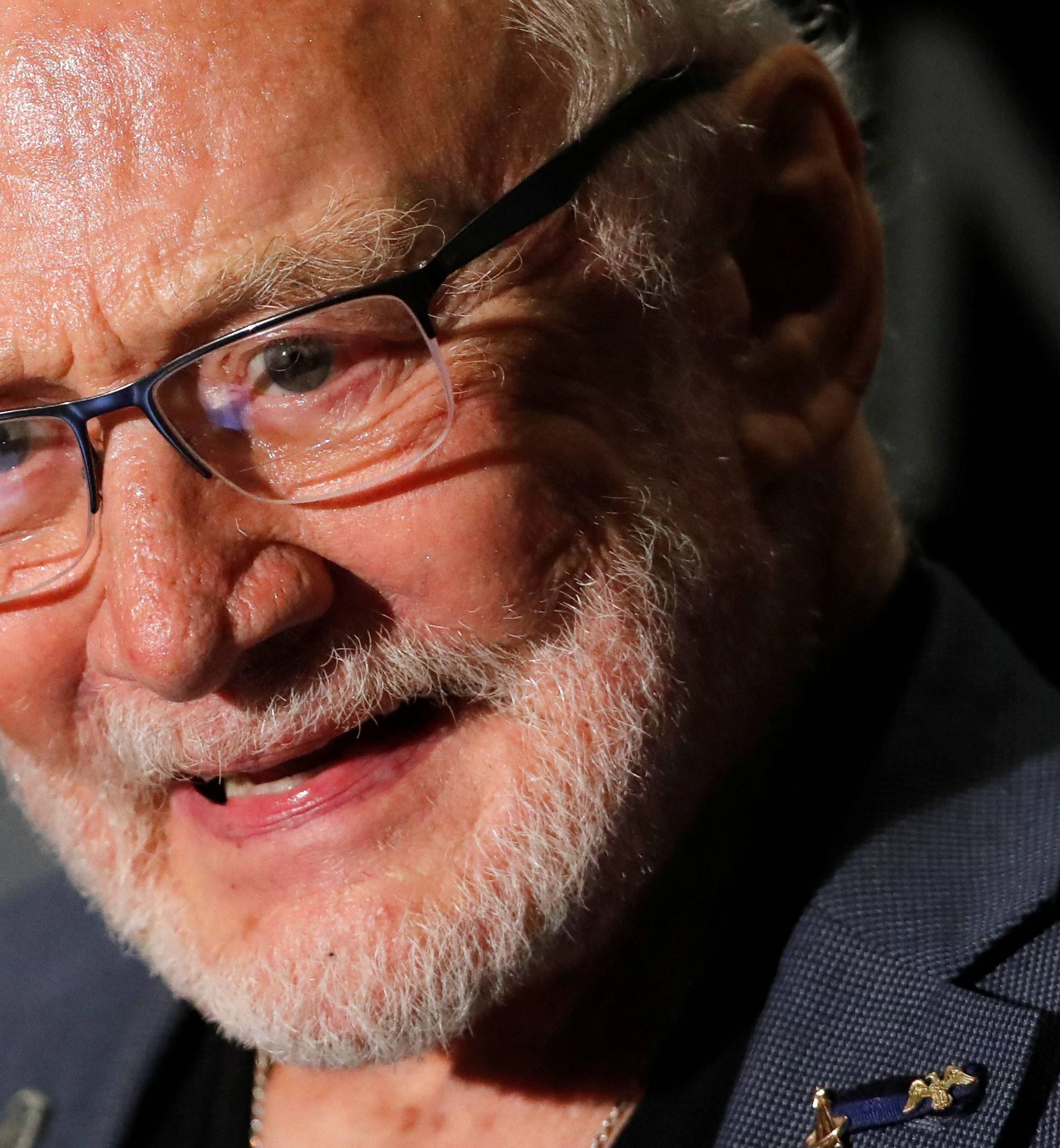 Former U.S. astronaut Buzz Aldrin addresses a news conference of the Starmus Festival V in Zurich