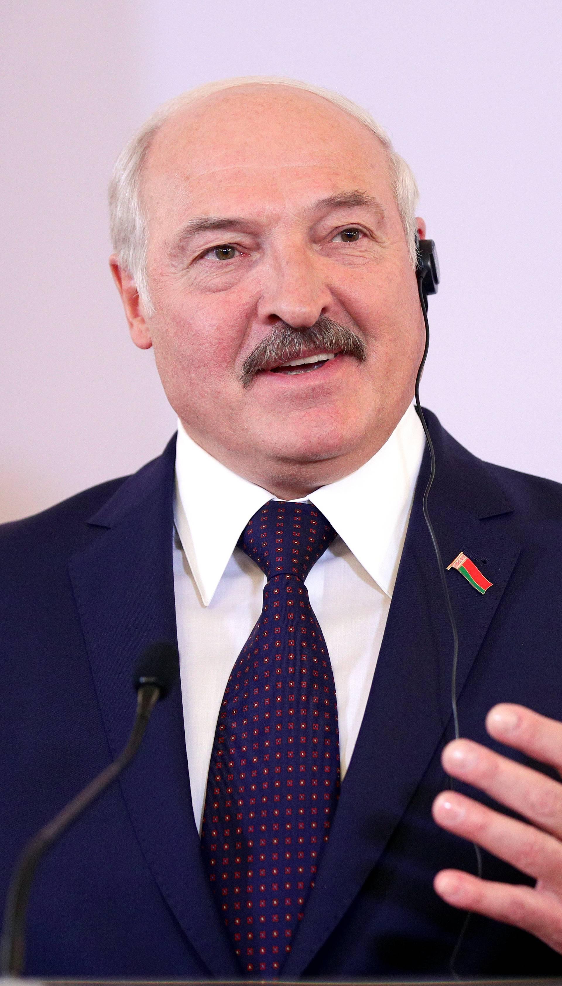 Belarusian President Alexander Lukashenko attends a news conference in Vienna
