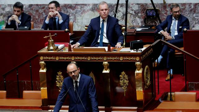 French Prime Minister Edouard Philippe delivers a speech on the government general policies plans at the National Assembly in Paris