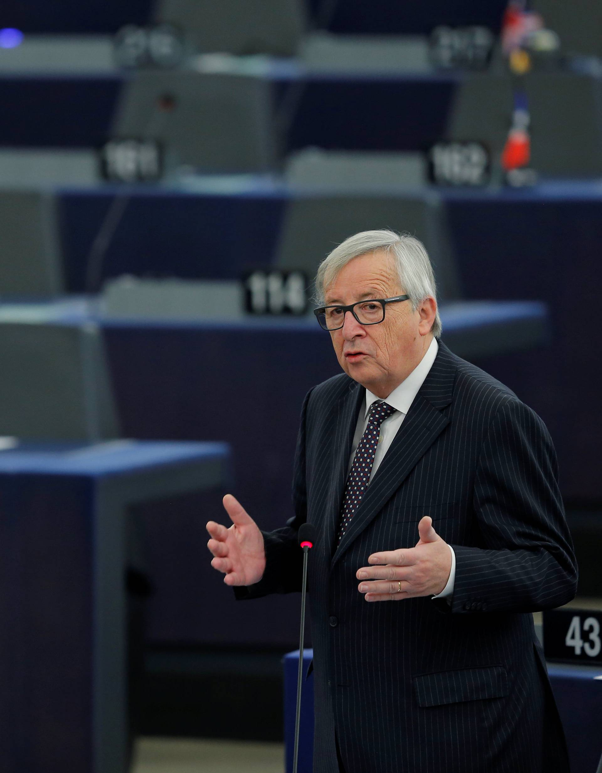 European Commission President Juncker delivers a speech during a debate on the Future of Europe at the European Parliament in Strasbourg