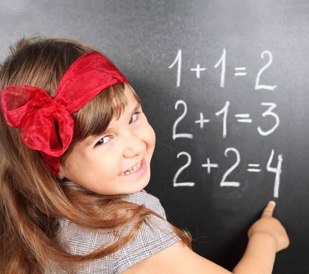 Girl Near Blackboard Learning Mathematics