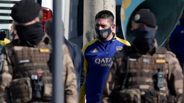 A member of Boca Juniors soccer team leaves a police station in Belo Horizonte