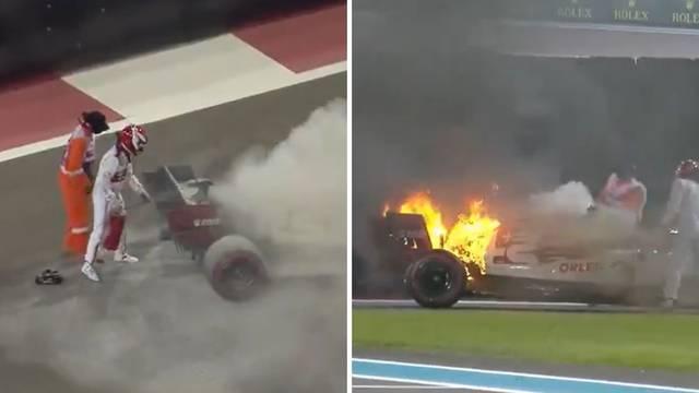 Kimiju se bolid zapalio u vožnji: 'Vatra! Izlazi što prije od tamo'