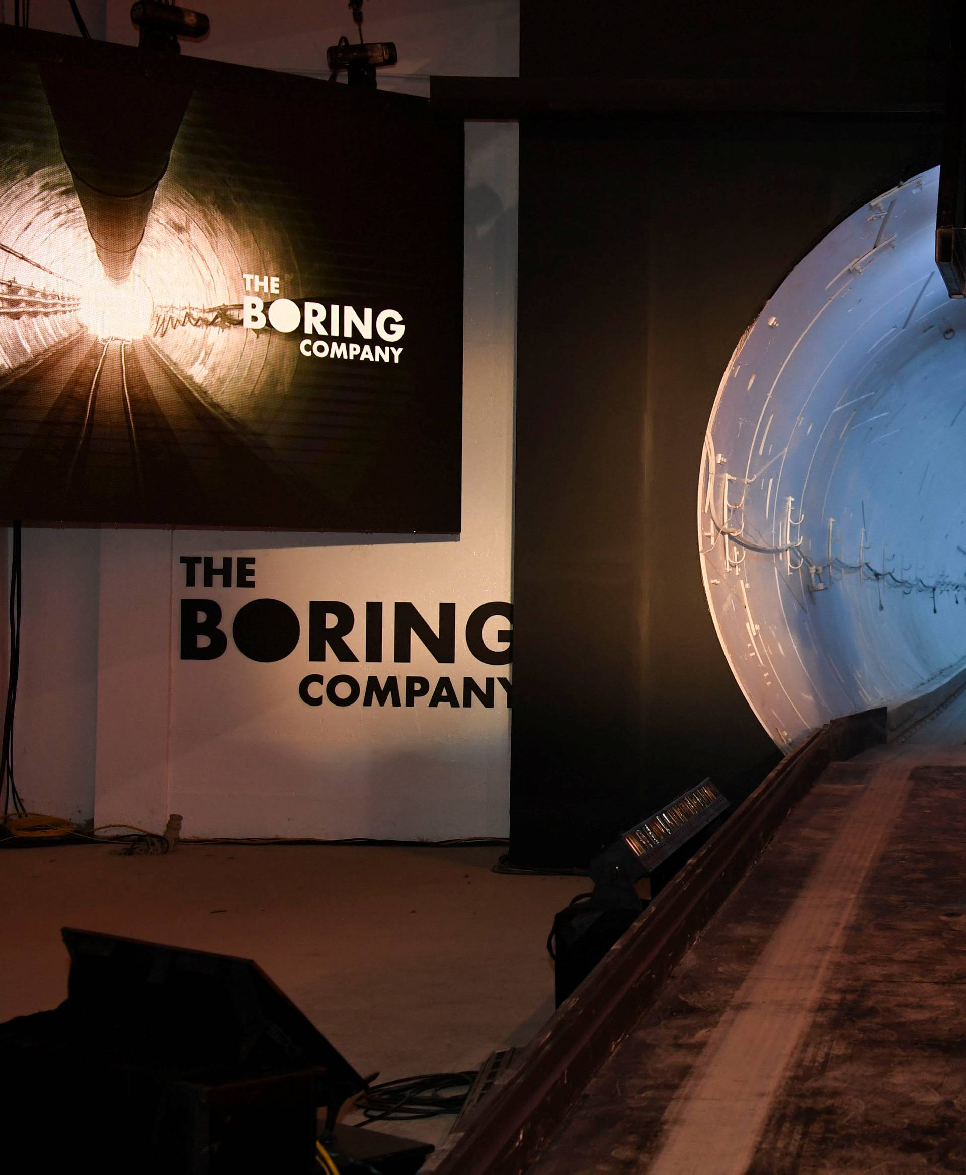 The Boring Company unveils first test tunnel of their transporation system in Hawthorne, California