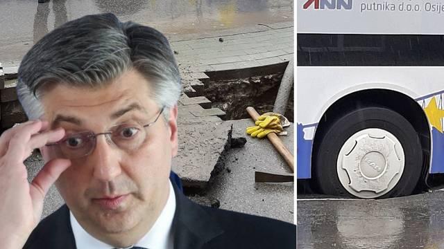Plenković je u Osijeku u vezi nabave novih autobusa, jučer je jedan propao u rupu na cesti