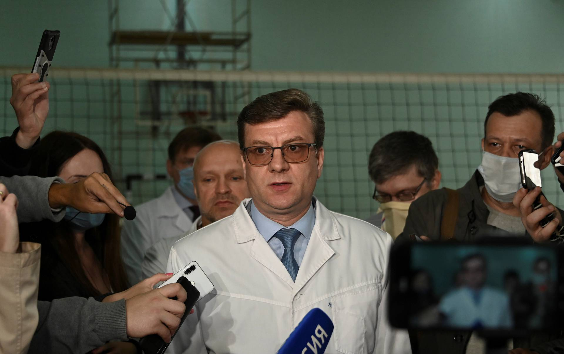 Alexander Murakhovsky, chief doctor of a hospital, where Alexei receives medical treatment, speaks with the media in Omsk