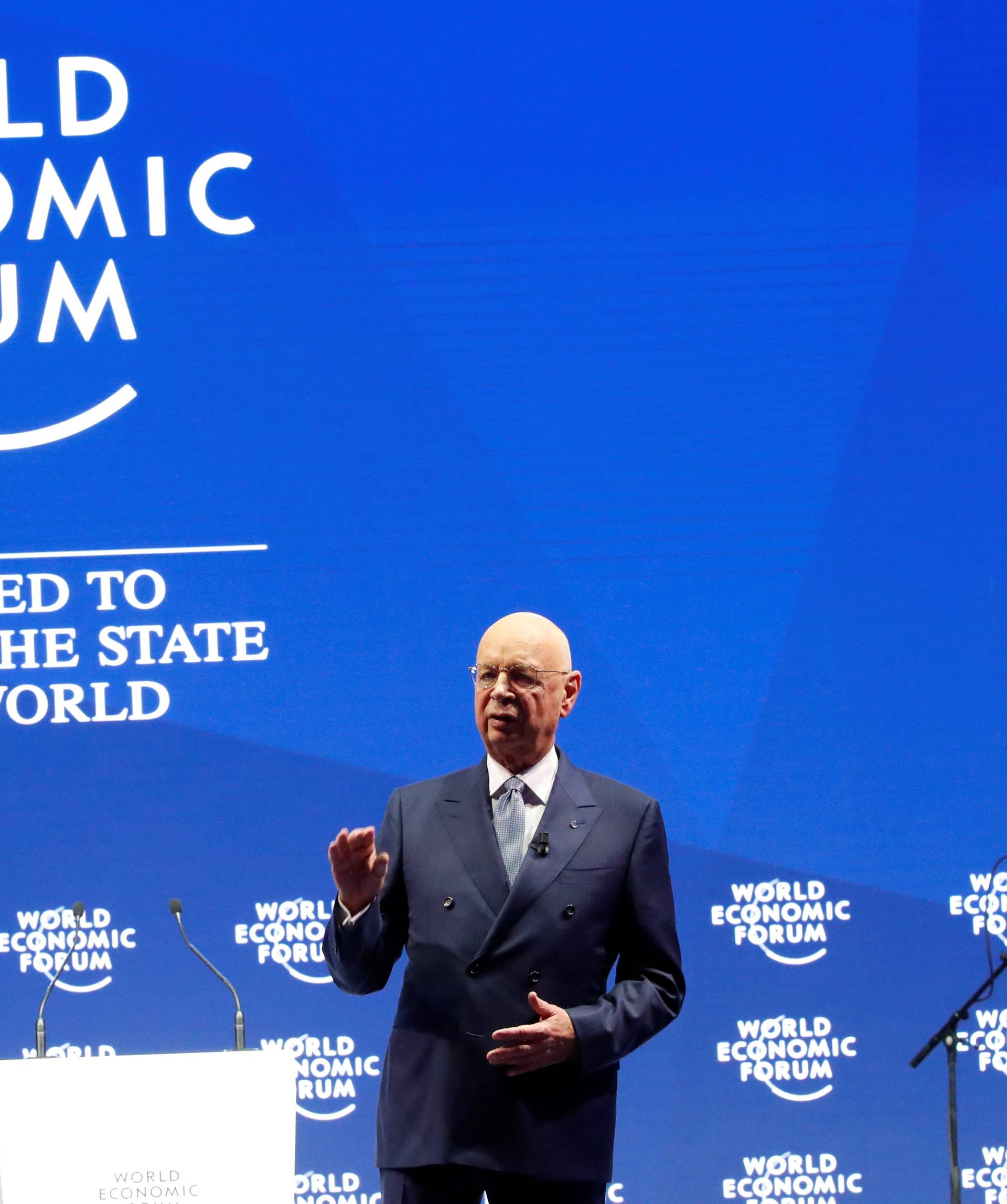 Klaus Schwab, Founder and Executive Chairman of the WEF, speaks during the opening session of the World Economic Forum (WEF) annual meeting in Davos