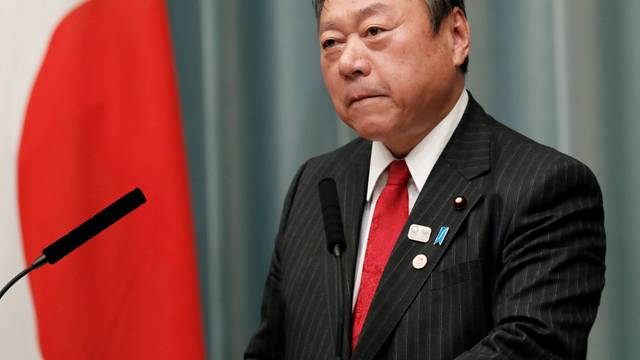 FILE PHOTO : Japan's Olympic Minister Yoshitaka Sakurada attends a news conference in Tokyo