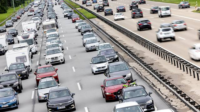 Start of holidays in Bavaria - traffic jam on motorway 8