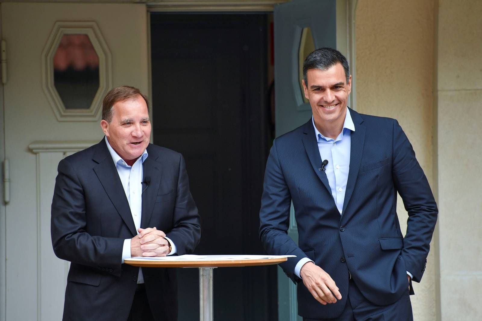 Spanish PM Sanchez and Sweden's PM Lofven hold a joint news conference in Harpsund