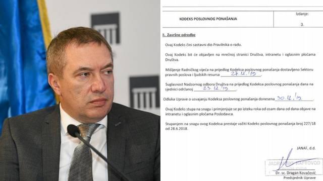Janaf donio kodeks koji strogo brani uzimanje mita, potpisuje ga Dragan Kovačević