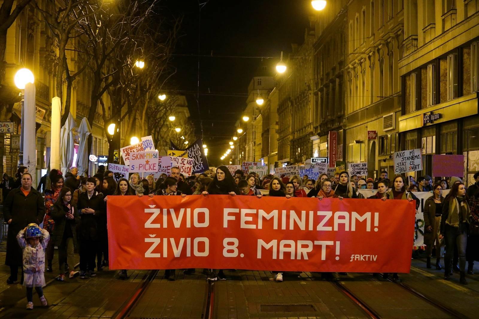 """Zagreb: """"Noćni marš - 8. mart"""" u organizaciji feminističkog kolektiva fAKTIV"""