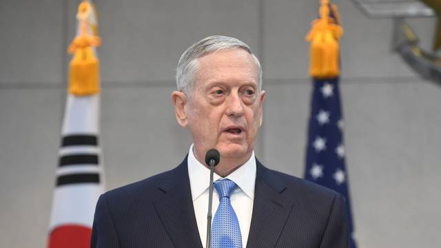 U.S. Defense Secretary Mattis speaks before meeting with South Korean Defense Minister Han  at the headquarters of the Defense Ministry in Seoul