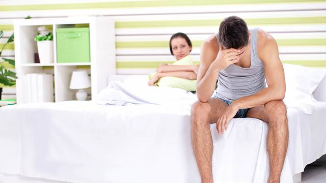 Upset men having problem in bed