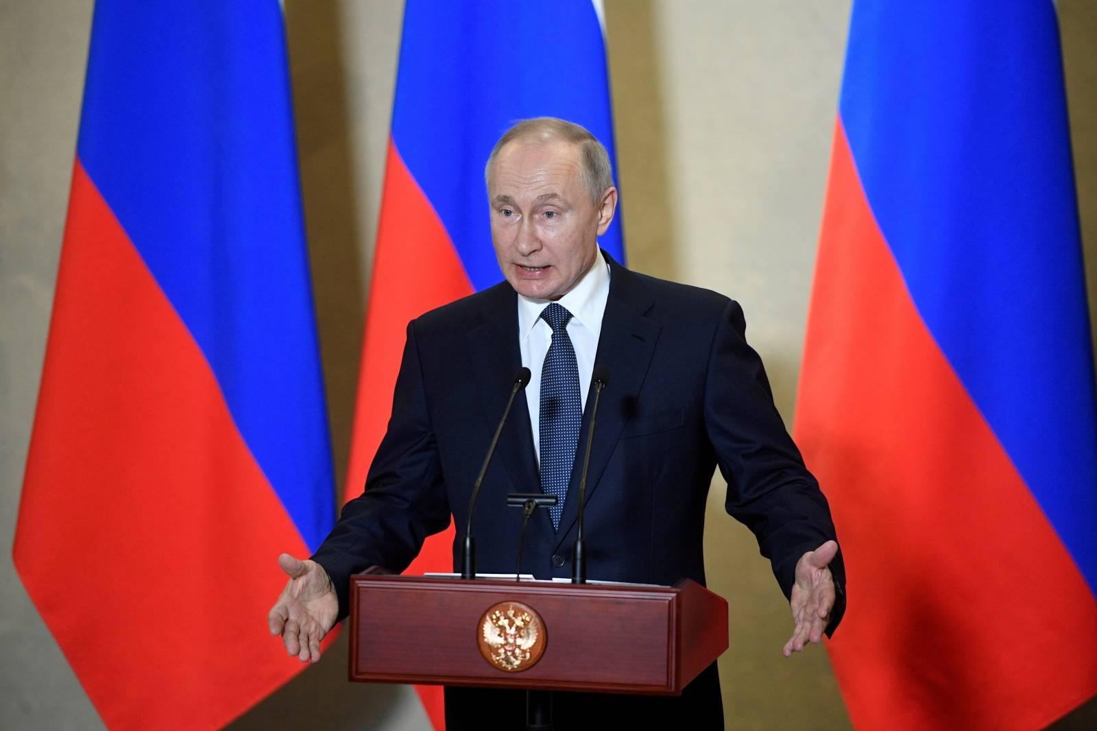 FILE PHOTO: Russian President Vladimir Putin attends an awarding ceremony in Sevastopol