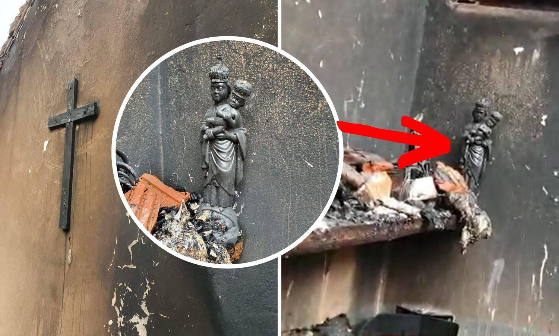 Izgorjelo sve osim Gospe i križa