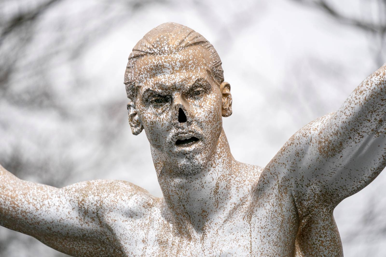 Vandalized Zlatan Ibrahimovic statue is seen in Malmo