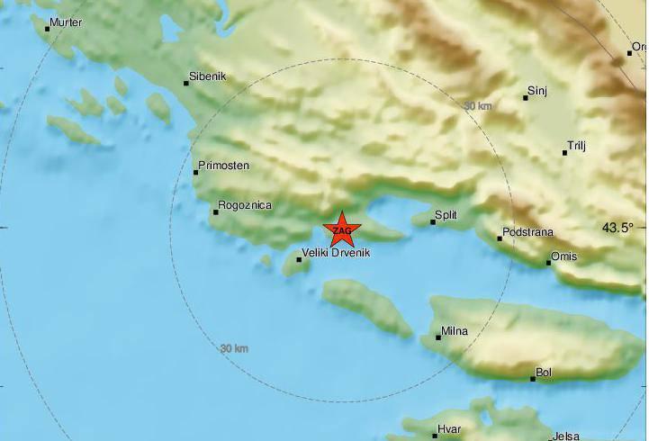 Trogirsko područje noćas je pogodio potres od 2,3 Richtera