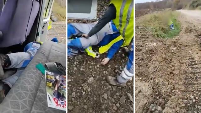 Snimka iz Zaprešića: Komunalci se usred radnog vremena  pijani valjaju po blatu i padaju iz auta