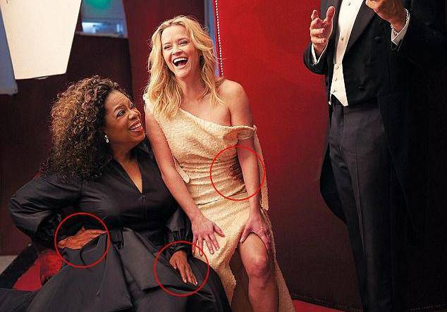 Kad Photoshop zakaže: Oprah ima tri ruke, a Reese tri noge