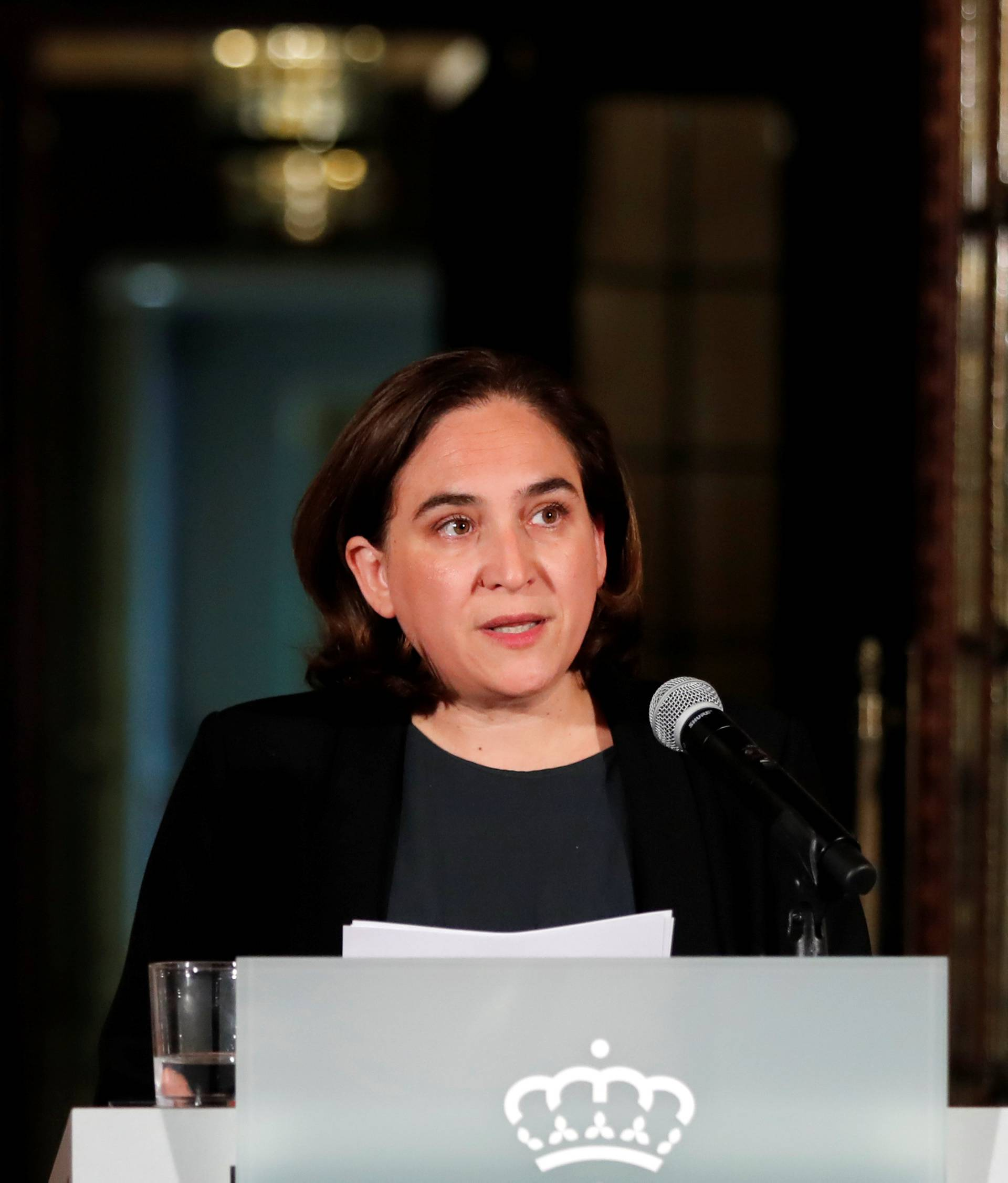 Ada Colau, the Mayor of Barcelona, issues a statement in Barcelona