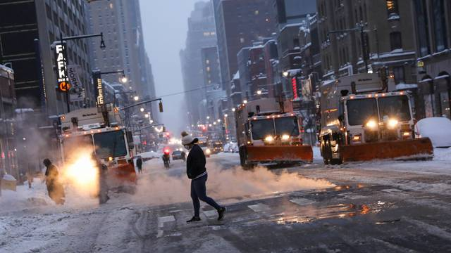 A snowstorm hits New York during the coronavirus disease (COVID-19) pandemic