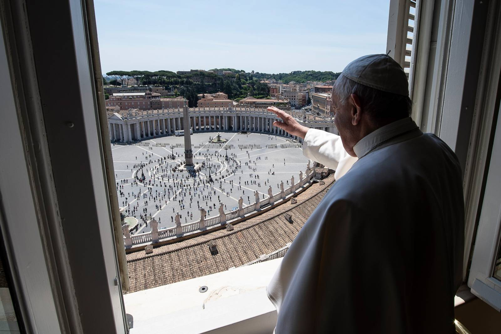 May 24, 2020 : Police carries out security and sanitization checks as people arrive to attend Pope Francis' live streamed Angelus prayer on Saint Peter's square   at the Vatican