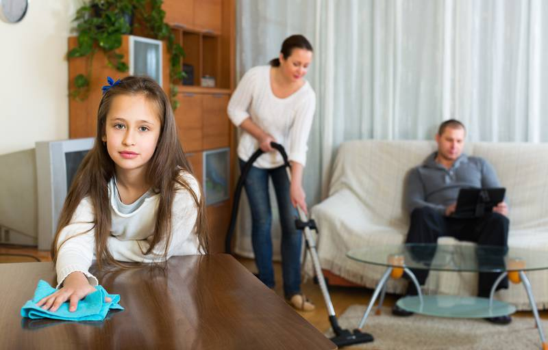 Woman and girl doing cleaning