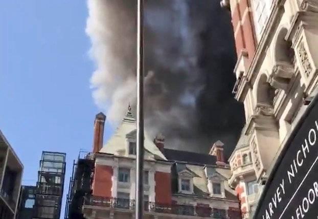 A blaze is seen at the Mandarin Oriental Hotel in Knightsbridge, London